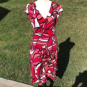 Evan-Picone Dress 8 Ruched Side Surplice Neck